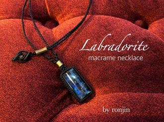 Macrame Necklace [ Labradorite ]